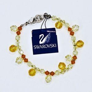 SWAROVSKI~golden faceted crystals~BEADED BRACELET